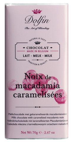 Vollmilchschokolade mit karamellisierten Macadamianüssen